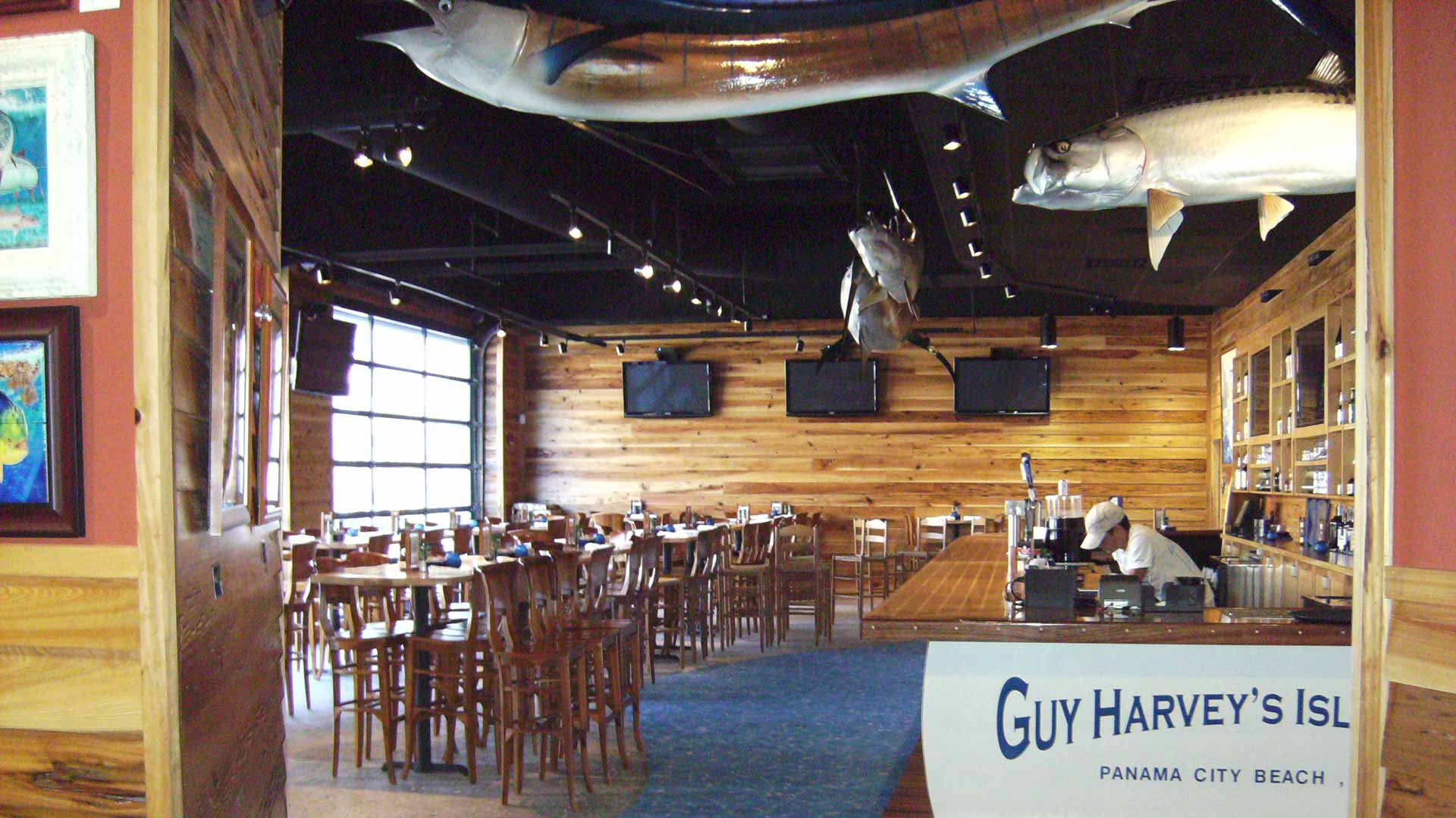 Custom dining area in an ocean fish themed restaurant.