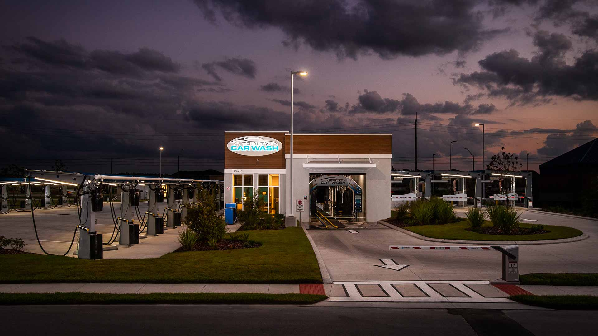 Photo of Trinity Car Wash by Creative Convenience at sunset.