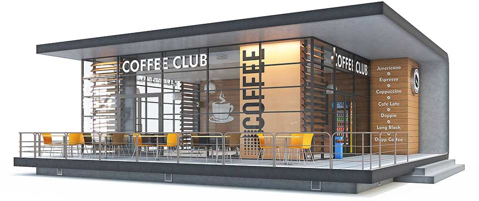 Three dimensional rendering of a proposed restaurant design.
