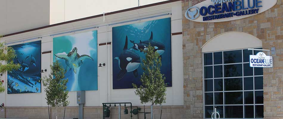 Photo of the exterior design of the Ocean Blue restaurant in Fairview.