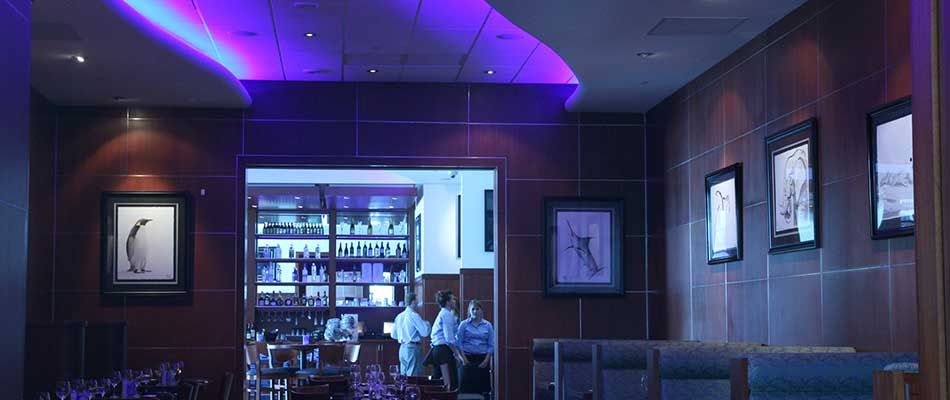 VIP dining area and neon lighting at the Ocean Blue in Fairview.