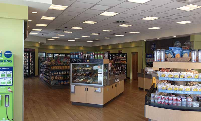 Convenience store interior after completed construction.